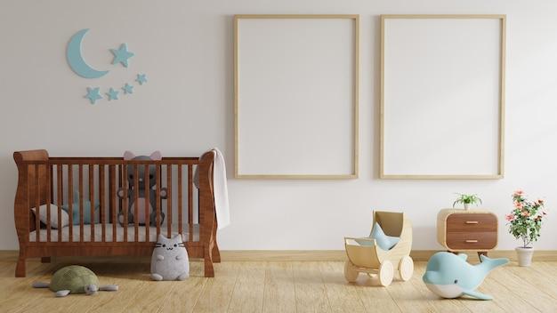 Camera dei bambini con letto decorato con alberi e bambole con cornici su pareti bianche. rendering 3d.