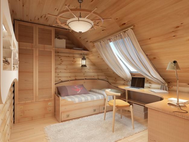 Bambini per un adolescente in una casa di tronchi in soffitta