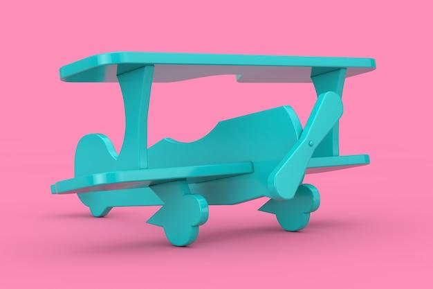 Giocattolo per bambini in plastica blu aereo biplano mock up duotone su uno sfondo rosa. rendering 3d