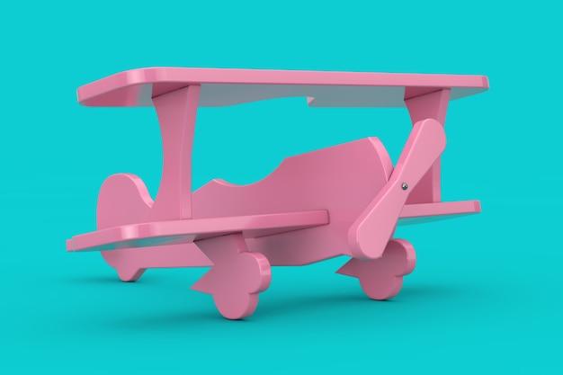 Giocattolo per bambini in plastica rosa aereo biplano mock up duotone su sfondo blu. rendering 3d