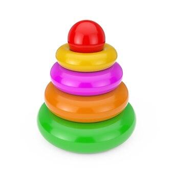 Giocattoli per bambini piramide di plastica colorata arcobaleno su sfondo bianco. rendering 3d
