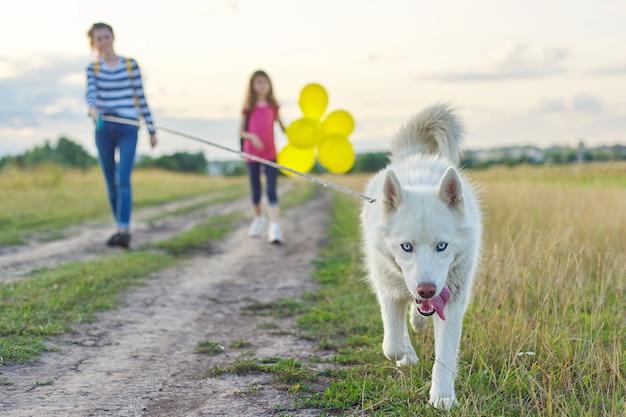 Bambini che camminano con il cane in natura, ragazze con animali domestici sulla strada di campagna in una giornata di sole estivo, bambino con palloncini gialli