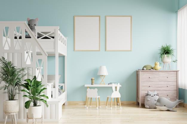 Camera da letto per bambini con cornici per foto su wal blu
