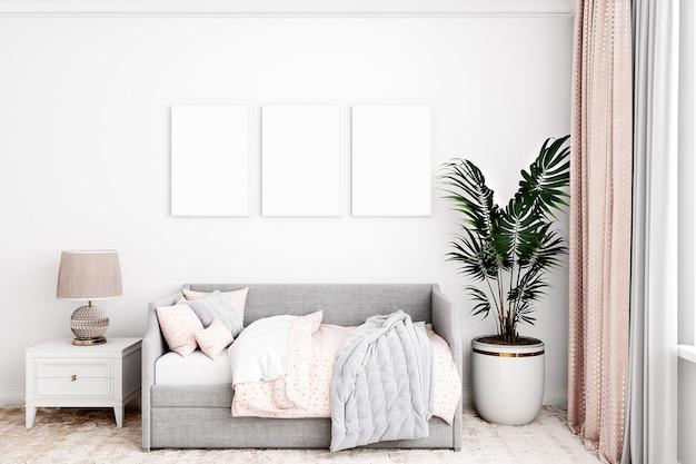 Modello di camera per bambini con tre cornici moderne bianche a4