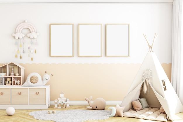 Modello di camera per bambini con tre cornici bohostyle in legno a4