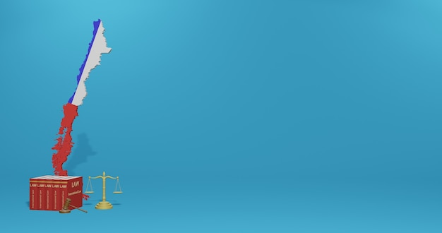Legge cilena per infografica, contenuti dei social media nel rendering 3d