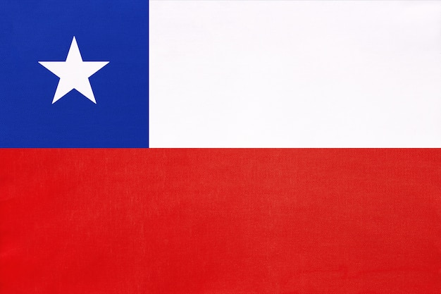 Bandiera nazionale del tessuto cile, simbolo del mondo internazionale del sud america paese.