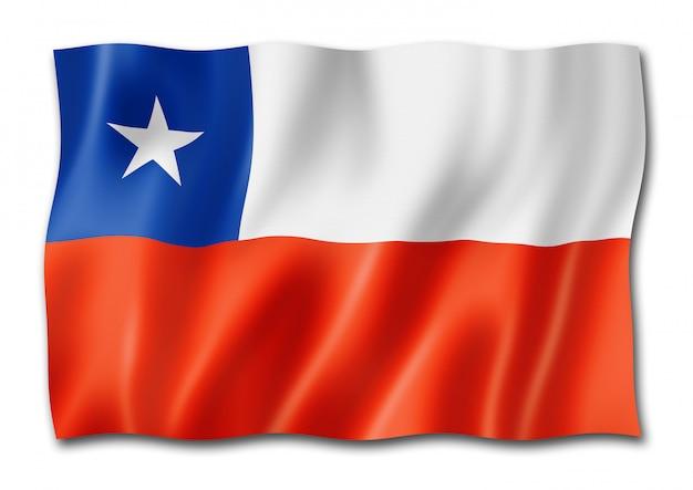 Bandiera cilena isolata su bianco