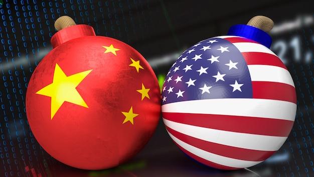 La bomba della cina e dell'america per il rendering 3d del concetto di business