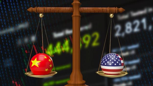 La cina e l'america bombardano la bilancia per il rendering 3d del concetto di business