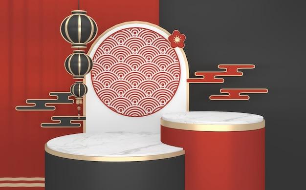 China black podio mostra prodotto cosmetico geometrico. rendering 3d