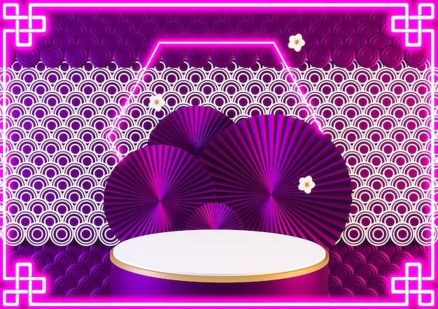 Cina fantasia rosa podio luce neon blu mostra prodotto cosmetico. rendering 3d