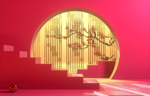 Sfondo cinese con podio rosso per la visualizzazione del prodotto.