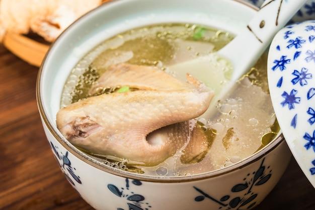 Cucina cinese: zuppa di funghi spezzatino di piccione