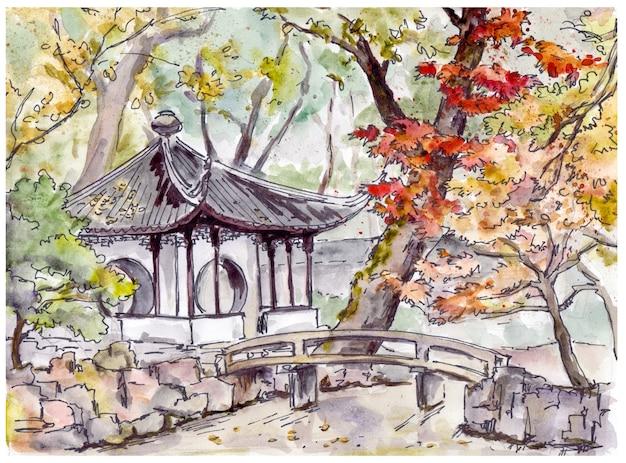 Giardino cinese con il padiglione della pagoda e del ponte a suzhou, cina