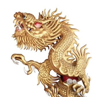 Chinese golden dragon sculptur isolato