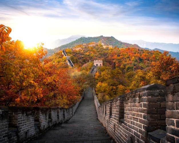 Grande muraglia cinese in autunno