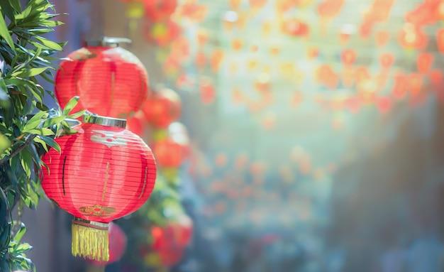 Lanterne cinesi del nuovo anno a chinatown
