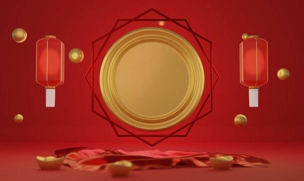 Capodanno cinese 3d rendering sfondo.