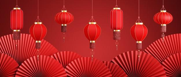 Sfondo astratto in stile cineselanterna cinese e padella rossa per la presentazione del prodottorendering 3d
