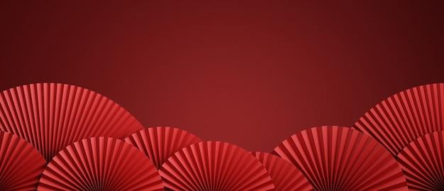 Fondo rosso astratto di stile cinese per l'illustrazione della rappresentazione di presentazione del prodotto 3d