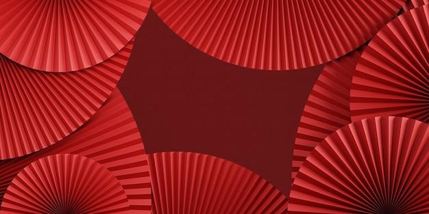 Sfondo rosso astratto in stile cinesepadella e podio cinese per la presentazione del prodotto rendering 3d