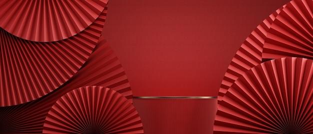 Sfondo rosso astratto in stile cinesepadella e podio cinese per la presentazione del prodottorendering 3d
