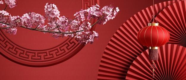 Fiore di ciliegio in stile cinese e sfondo di pan cinese rosso per la presentazione del prodotto 3d rendering