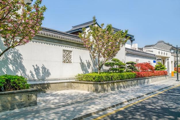 Materiale di sfondo muro bianco piastrelle grigie in stile cinese