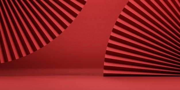 Sfondo rosso astratto minimale in stile cinese per la presentazione del prodotto. illustrazione della rappresentazione 3d.
