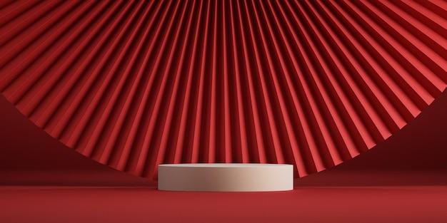 Podio minimo in stile cinese e sfondo rosso per l'illustrazione di rendering 3d di presentazione del prodotto