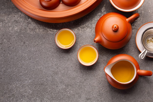 Tè cinese tradizionale bevanda a base di erbe sfondo