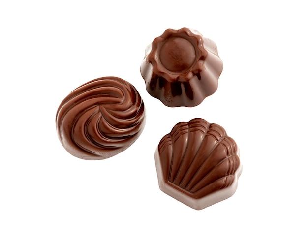 Caramelle al cioccolato dolci isolati su sfondo bianco