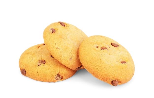 Biscotto al cioccolato isolato su sfondo bianco