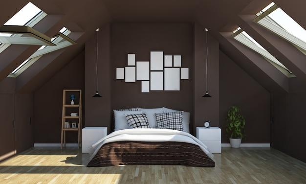Camera da letto color cioccolato su soffitta con modello di cornici per foto