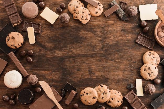 Composizione di cioccolato con copyspace