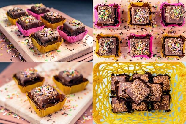 Biscotti al cioccolato con cioccolato e arachidi. collage di foto impostate.