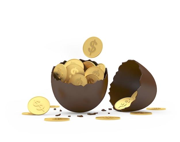 Uovo rotto di pasqua del cioccolato con le monete del dollaro