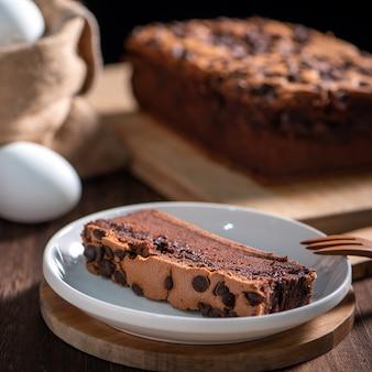 Sapore di cioccolato pan di spagna tradizionale taiwanese castella kasutera taiwanese su un vassoio di legno