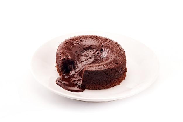 Torta al cioccolato fondente, budino al cioccolato caldo