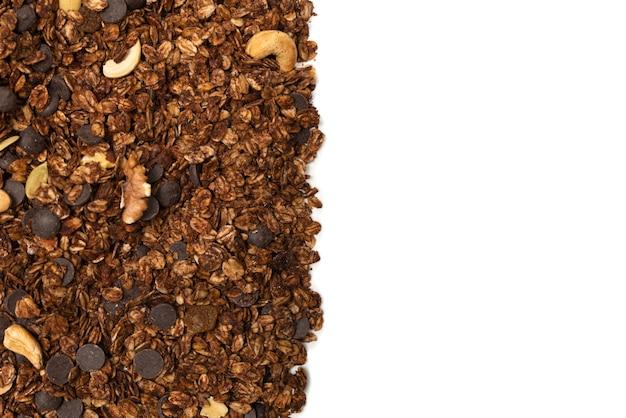 Cereali muesli al cioccolato con noci