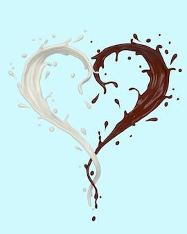 Forma di cuore spruzzata di cioccolato e latte su bianco
