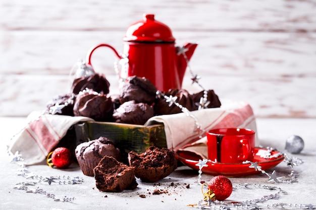 Muffin al cioccolato a natale