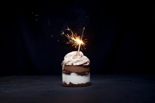 Torta di compleanno al cioccolato e lampone con sparkler su sfondo scuro.