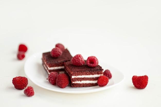 Biscotto al cioccolato e lampone decorato con bacche di lampone mature. dessert di bacca dolce su uno sfondo di cemento bianco. foto di alta qualità