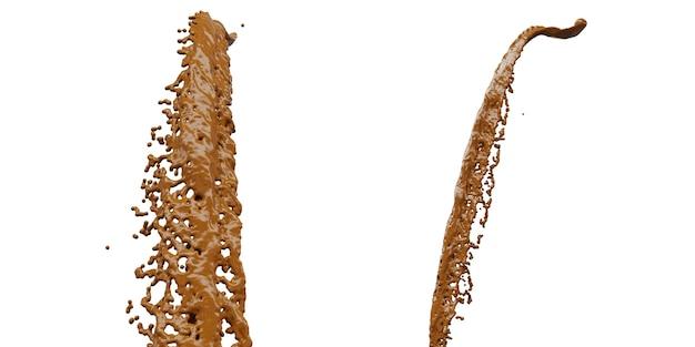 Spruzzata di cioccolato con goccioline 3d rendering 3d illustration