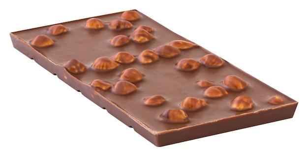 Cioccolato con noci isolato su bianco.