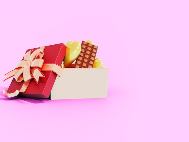 Cioccolato e cuori gialli con spazio vuoto sul lato destro. rendering 3d