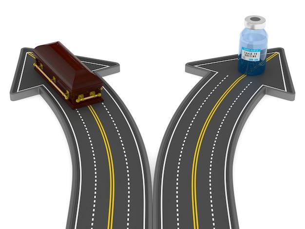 Scelta tra vaccino e bara su sfondo bianco. illustrazione 3d isolata
