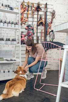 Scegliere i giocattoli. ragazza dai capelli scuri e il suo corgi che scelgono giocattoli in un negozio di animali